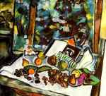 Natalia Goncharova - Still life fruit opened book