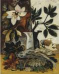 Natalia Goncharova - Still life with flowers and fish