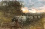 Nicolae Grigorescu  -Car cu boi în apus de soare