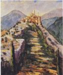 Winston Churchill - View of the Fortified Village of Eze