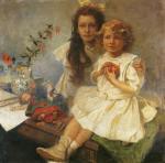 Alphonse Mucha - Jaroslava and Jiri, The Artist's Children