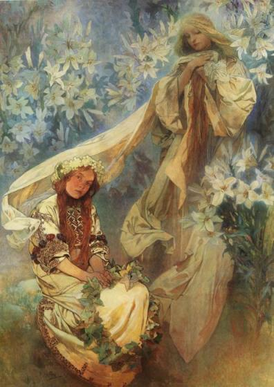 Alphonse Mucha - Madonna of the Lilies