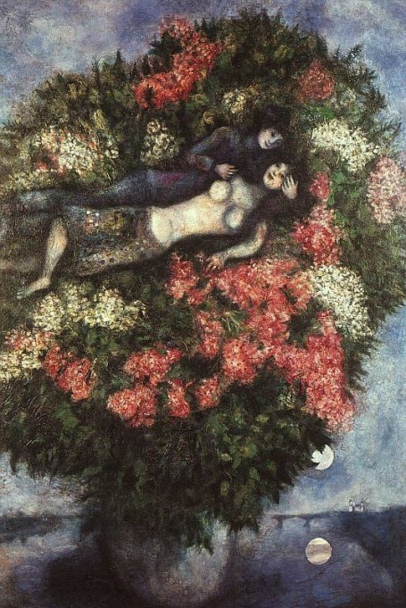 Marc Chagall - Lovers in the Lilacs