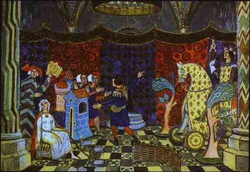 Mstislav Dobuzhinsky. Set design for de la Halle's pastorale Le Jeu de Robin et Marion in St. Petersburg, Antique Theater