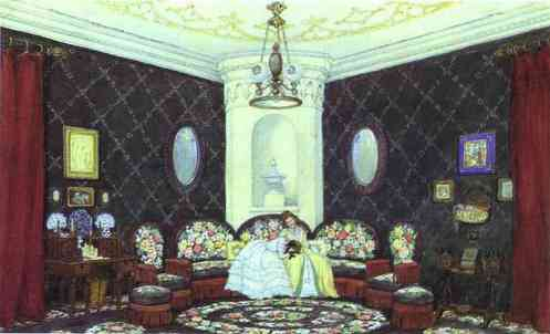Mstislav Dobuzhinsky. The Blue Lounge. Set design for Act I of Turgenev's A Month in the Country in Moscow Art Theater
