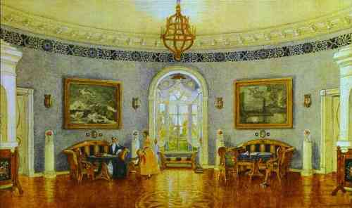 Mstislav Dobuzhinsky. The Blue Lounge. Set design for Act I of Turgenev's A Month in the Country in Moscow Art Theater.
