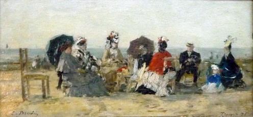 Eugène Boudin - Personnages sur la plage de Trouville