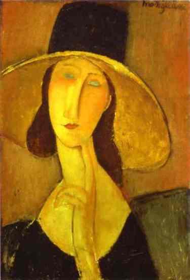 Amedeo Modigliani - Portrait d'une jeune femme au chapeau (Jeanne Hébuterne avec un grand chapeau)