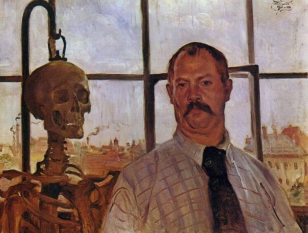 Lovis Corinth – Self-Portrait With Skeleton
