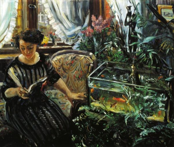 Lovis Corinth – Woman by a Goldfish Tank