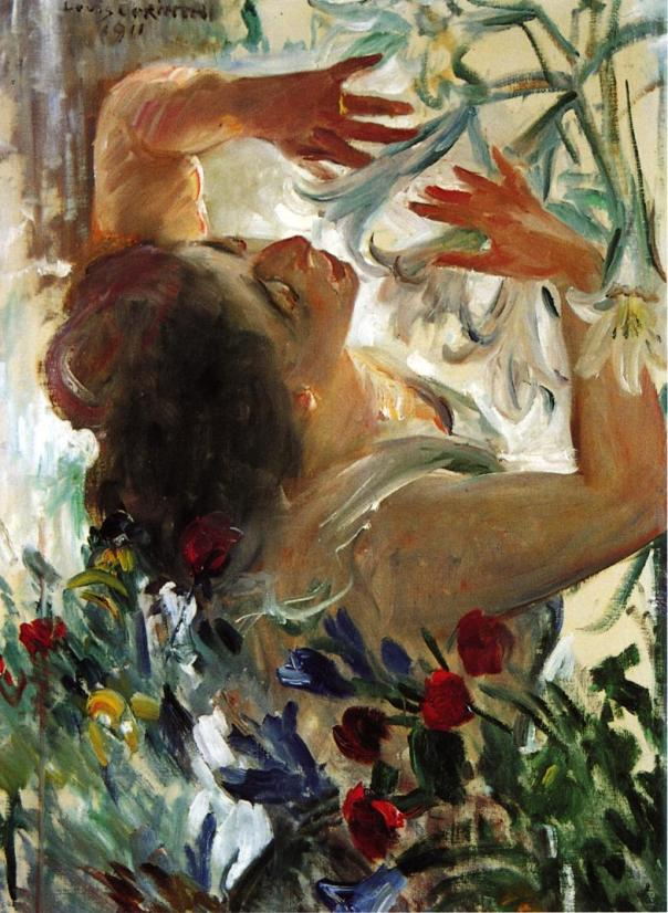 Lovis Corinth – Woman with Lilies in a Greenhouse