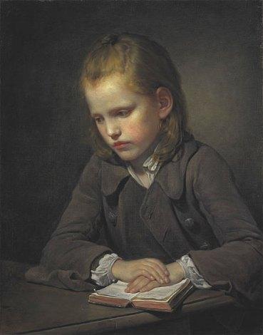 Jean-Baptiste Greuze - A Boy with a Lesson Book