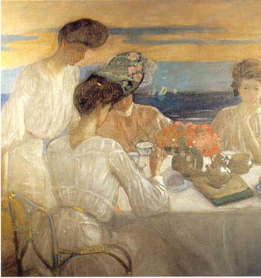 Frederick Carl Frieseke - Afternoon Tea on the Terrace