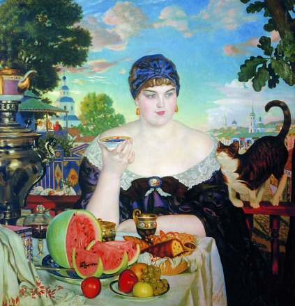 Boris Kustodiev - The Merchant's Wife at Tea, 1918