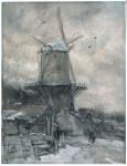 Jacob Maris - A Windmill in Winter
