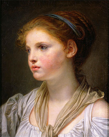 Jean-Baptiste Greuze - Girl with a Blue Ribbon