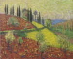Henri Martin-Cyprus Trees on the Hill