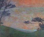 Henri Martin-Sunset at Sea