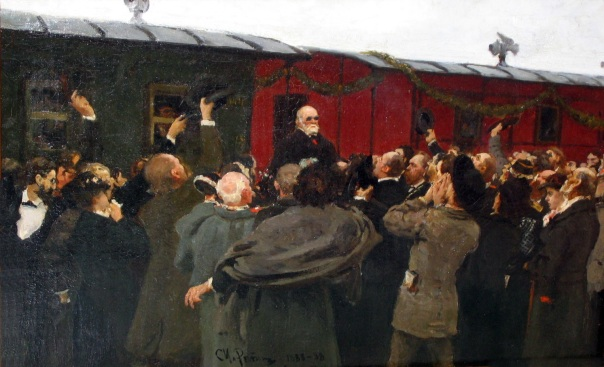 Ilya Repin - Arrival of Nikolai Ivanovich Pirogov to Moscow in the 50th anniversary of his scientific activities