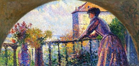 Maximilien Luce - Paris, Rue Cortot, Madame Luce on the Balcony