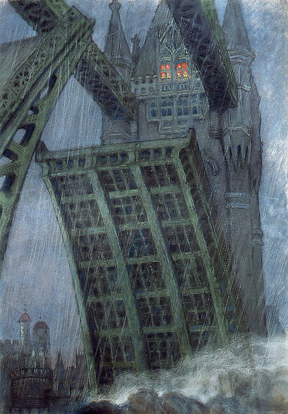 Mstislav Dobuzhinsky. Bridge in London