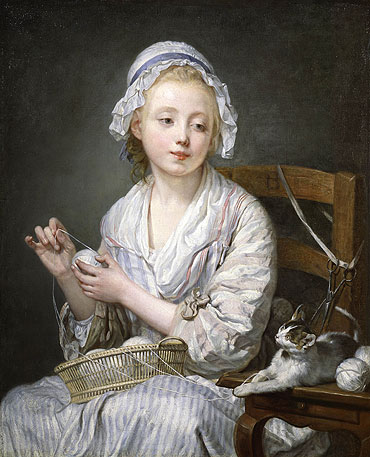 Jean-Baptiste Greuze - The Wool Winder