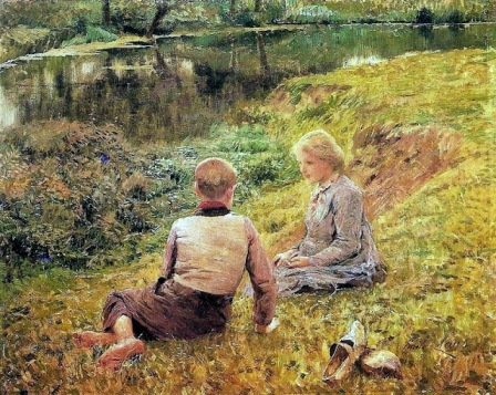 Emile Claus - Children in a landscape
