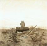 Caspar David Friedrich - Landscape with Grave, Coffin and Owl