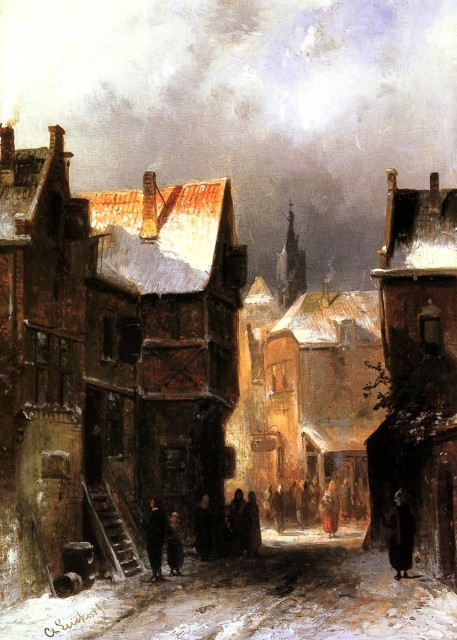 Charles Leickert - A Dutch Town in Winter