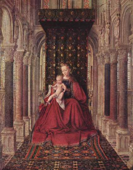 Jan van Eyck - Marienplatz altar, Dresdner triptych, middle panel, Mary with child