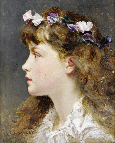 Sophie Anderson – A young girl with a garland of flowers