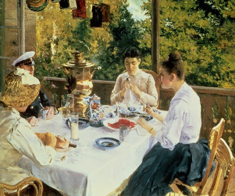 Konstantin Alexeevich Korovin - At a Tea Table