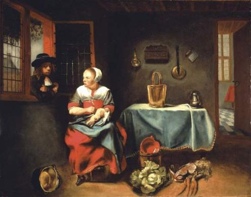 Nicolaes Maes - Interior of a cottage
