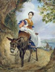 Karl Briullov - Portrait of O P Ferzen on a Donkeyback