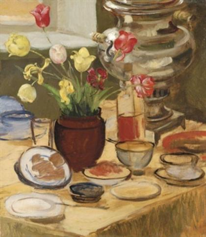 Zinaida Serebryakova - Still-life with samovar and Tulips