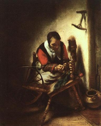 Nicolaes Maes - A Woman Spinning