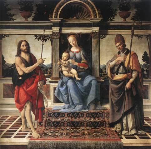 Andrea del Verrocchio - Madonna with Sts John the Baptist and Donatus