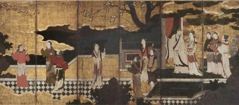 Kano Eitoku - The Chinese Emperor MingHuang and his concubine Yang Guifei, with attendants on a terrace