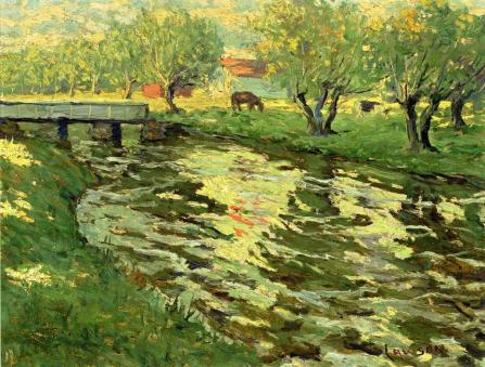 Ernest Lawson - Horses Grazing by a Stream