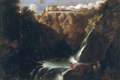 Adam Elsheimer - Landscape with waterfall