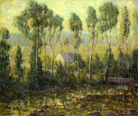 Ernest Lawson - Poplars along a River
