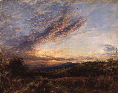 John Linnell - Sunset over a Moorland Landscape