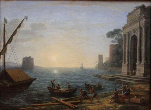 Claude Lorrain - A Seaport at Sunrise