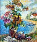 David Burliuk - Bouquet with sunflowers with landscape