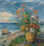 David Burliuk - Flowers by the Shore