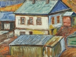 David Burliuk - Rooftops in Siberia