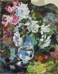 David Burliuk - Still life with flowers on palette