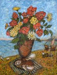 David Burliuk - Still life with flowers