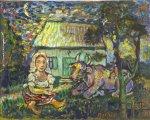 David Burliuk - Woman and Cow