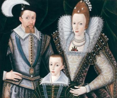 John de Critz - Portrait of James I of England, Anne of Denmark and Henry, prince of Wales